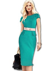 Women's Solid Blue/Green Dress , Vintage/Bodycon Round Neck Short Sleeve
