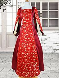 Long Sleeve Floor-length Red Cotton Gothic Lolita Dress