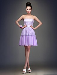 Knee-length Chiffon Bridesmaid Dress - Lilac Ball Gown Strapless