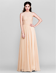 Lanting Bride® Floor-length Chiffon Bridesmaid Dress - Sheath / Column Jewel Plus Size / Petite with Split Front / Ruching