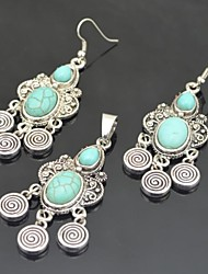 Toonykelly Vintage Antique Silver Water Drop Turquoise Stone(Earring and Necklace) Jewelry Set