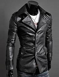 мужская отложным воротником PU мех тонкий кожаная одежда