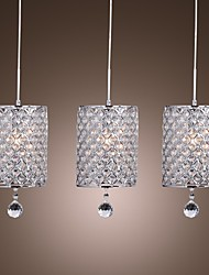 LED  Minimalist K9 Crystal Pendant Lights With 3 Lights