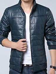 Men's Fashion Leather Down Jacket