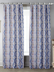 (Two Panels) Symmetrical Baby Blue Floral Curtain