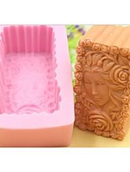 красивая девушка вырос цветок в форме помады торт шоколадный силиконовые формы украшения торта инструментов, l10.1cm * w5.9cm * h4.2cm