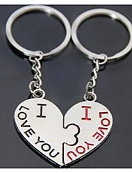 Alloy Silver Plated Kiss Kiss Heart Keychain Key Ring for Lover Valentine's Day(One Pair)