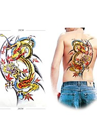 1 Pcs Waterproof  Large Color Dragon Backing Pattern  Tattoo Stickers