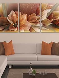 e-FOYER toile tendue fleur d'art peinture décoration ensemble de trois