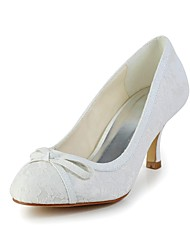 Women's Fall Heels Lace Wedding Stiletto Heel Bowknot Ivory / White