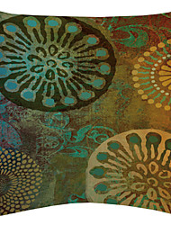 Green Floral Disk Velvet Decorative Pillow Cover