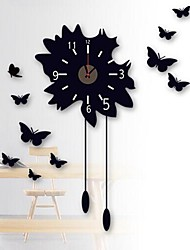 Wall Clock Stickers Wall Decals, Butterflies Feature Removable  PVC Wall Stickers