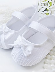 Girls' Baby Flats Fabric Spring Fall Casual Outdoor Dress Bowknot Flat Heel White Pink Flat