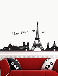 Romantic PVC Eiffel Tower Wall Stickers