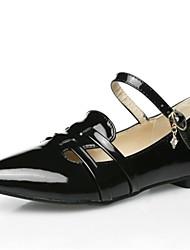 Zapatos de mujer - Tacón Plano - Puntiagudos - Tacones - Vestido - Cuero Patentado / Ante Sintético - Negro / Blanco / Beige