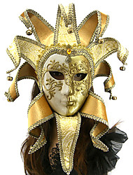 Full Face Music Golden Leaf Decoration Italian Style Carnival Mask