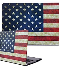 "Sench Frosted Rubber Coated Hard Shell Clip Case National Flag Drawing for Macbook Pro 13.3"" Retina Display A1425 A1502"