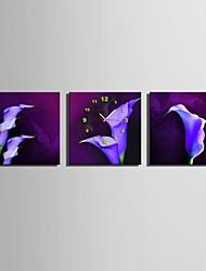 e-home® flores roxas relógio em lona 3pcs
