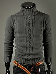 Playgame Men's Casual High Neck Jacquard Sweater