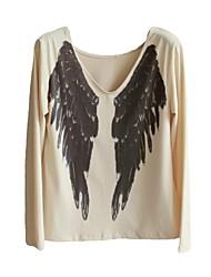 vrouwen engelenvleugels afdrukken lange mouw casual t-shirts