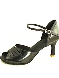 Customizable Women's Dance Shoes Latin/Salsa Satin/Sparkling Glitter Customized Heel Black/Blue/Red/Silver/Gold