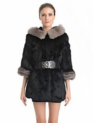 Fur Coat Half Sleeve Fox Fur Hoody Genuine Rabbit Fur Casual Coat