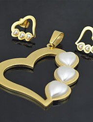 Toonykelly Honey Love Heart Honey Stainless Steel(Pandeant with Earring Stud)Jewelry Set