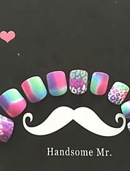 24pcs uñas de leopardo corlorful