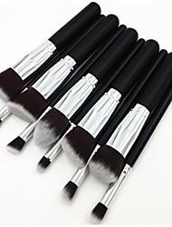 10st zilveren buis zwart handvat cosmetische make-up borstel set