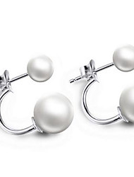 Sterling Silver Double Pearl Earring