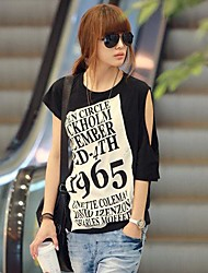 Women's Sexy / Cute Spring / Summer T-shirt Short Sleeve Black Medium