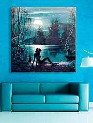 E-HOME® Stretched LED Canvas Print Art The Moon Lake Flash Effect LED Flashing Optical Fiber Print