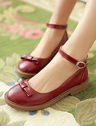 Zapatos de mujer - Tacón Bajo - Punta Redonda - Tacones - Vestido - Cuero - Negro / Marrón / Bermellón