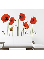 Wall Stickers Wall Decals, Style Red Peony Flower PVC Wall Stickers