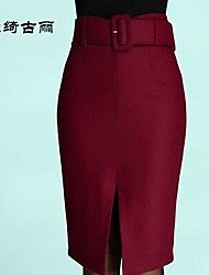 Women's Red/Black/Gray Skirts , Sexy/Bodycon Midi