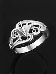 2016 Hot Big Heart Noble Women 925 Sterling Silver Statement Party Ring