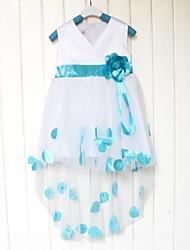 vestido de chaleco con cuello en V de la correa pequeña flor hermosa niña