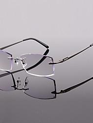 [Free Lenses] Men's Metal Rectangle Rimless Crystal Reading Glasses