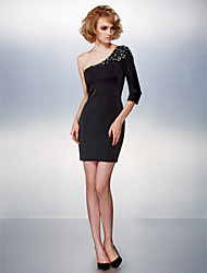 Cocktail Party Dress - Black Plus Sizes / Petite Sheath/Column One Shoulder Short/Mini Jersey
