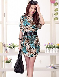 Women's Print Dress , Casual/Print Round Neck Short Sleeve