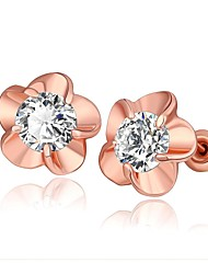 Fashion Crystal Flower Rose Gold Rose Gold-Plated Stud Earrings (Rose Gold)(1Pair)