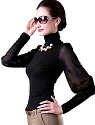 kvinnors hög hals enfärgad mesh puffärm slim bottna skjorta