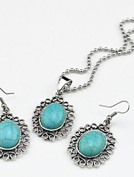 Toonykelly Vintage Antique Silver Oval Turquoise Stone Bead(Earring and Necklace) Jewelry Set