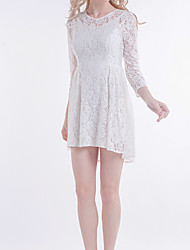 moda vestido com mangas 3/4 das mulheres Beautifly