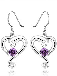 Silver-Plated Heart-Shaped Shape Cubic Zirconia Earrings
