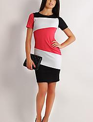 Aamikare Women's Contrast Color Short Sleeve Sheath Dress