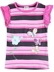 Girl's Cotton/Spandex Tee , Summer Short Sleeve