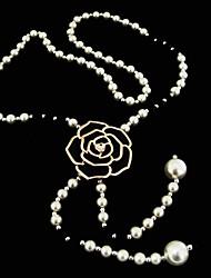 luxuoso pérola de falso e colar fashion faux cristal longo para o aniversário, festa, casamento