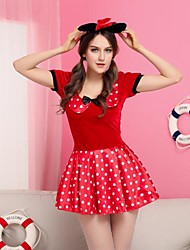 ratón muchacha roja de lunares de terciopelo traje de vestir de las mujeres