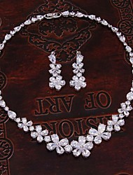 Korean Bride Wedding Flowers CZ Necklace Earring Sets Jewelry